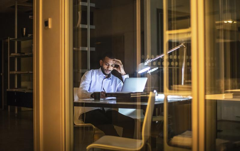 Businessman Working Late in The Office